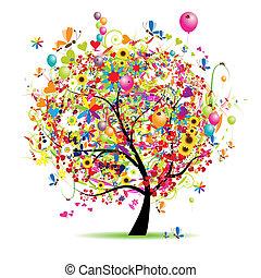 boldog, ünnep, furcsa, fa, noha, léggömb