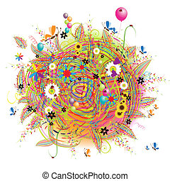 boldog, ünnep, furcsa, kártya, noha, léggömb