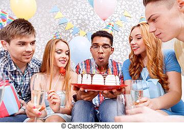boldog, ünneplés, közül, egy, születésnap