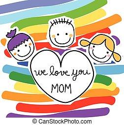 boldog, üzenet, gyerekek, nap, anyák