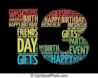 boldog, 13, születésnap, szó, felhő