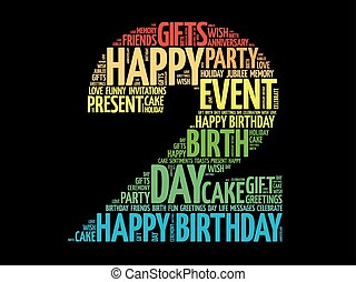 boldog, 2, születésnap, szó, felhő