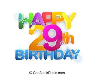 boldog, 29th, születésnap, cím, fény