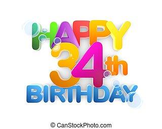 boldog, 34, cím, születésnap, fény