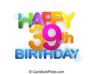boldog, 39th, cím, születésnap, fény