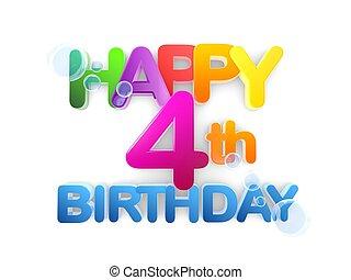 boldog, 4, születésnap, cím, fény