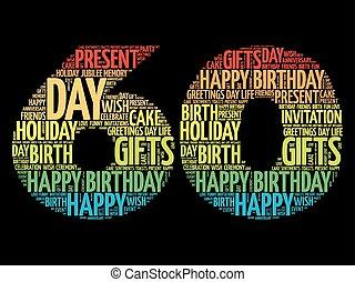 boldog, 60th, születésnap, szó, felhő