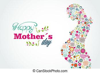 boldog, anyák, árnykép, terhes nő, ábra