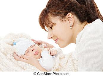 boldog, anya, birtok, newborn csecsemő, alvás, felett, white háttér