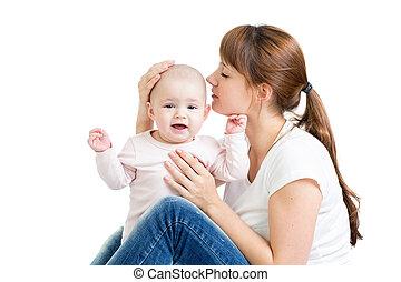 boldog, anya, csókolózás, neki, csecsemő lány