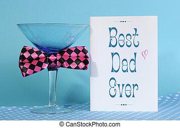 boldog, atya nap, legjobb, apuka, mindig, köszönés kártya, noha, kék, martini pohár, és, móka, rózsaszínű, ellenőriz, vonó odaköt, képben látható, kék, és, polka tarkít, háttér.