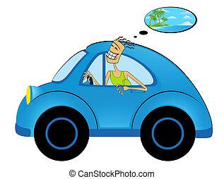 boldog, autó, ember