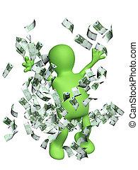 boldog, bábu, noha, pénz