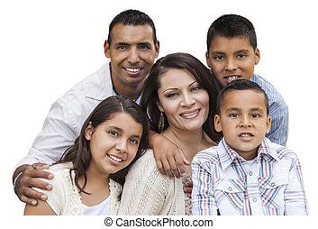 boldog, bájos, hispanic család, portré, white