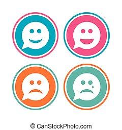 boldog, bús, icons., arc, cry., beszéd, mosoly, buborék