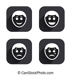 boldog, bús, icons., arc, cry., emberi, mosoly