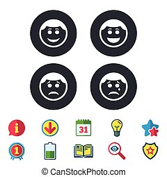 boldog, bús, icons., arc, cry., mosoly, karika