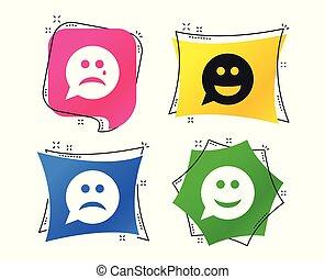 boldog, bús, icons., arc, cry., vektor, beszéd, mosoly, buborék