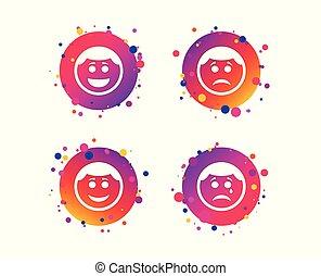 boldog, bús, icons., arc, cry., vektor, mosoly, karika