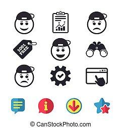 boldog, bús, kopogtató, icons., arc, cry., mosoly