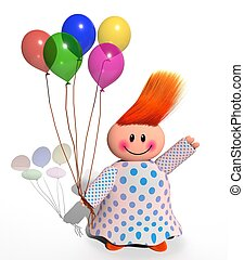 boldog, balloon, leány