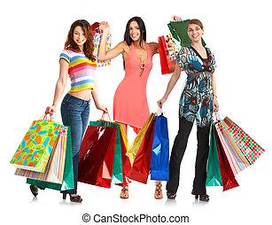 boldog, bevásárlás, emberek.