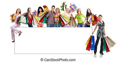 boldog, bevásárlás, emberek
