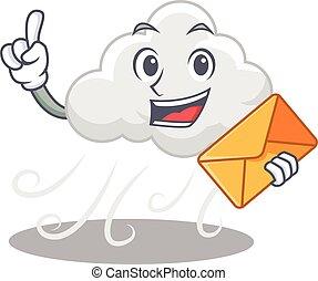 boldog, boríték, felhős, tervezés, szeles, barna, kabala, ...