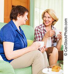 boldog, colleagues, ivás, coffe, és, beszélgető, közben,...