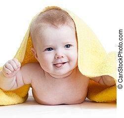boldog, csecsemő fiú, után, fürdés
