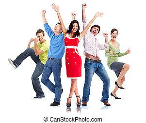 boldog, csoport, emberek