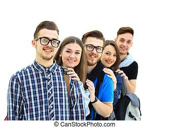 boldog, csoport, fiatal, emberek