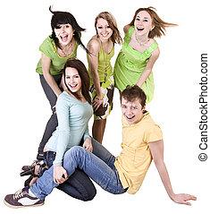 boldog, csoport, közül, fiatal, emberek.