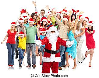 boldog, csoport, karácsony, emberek