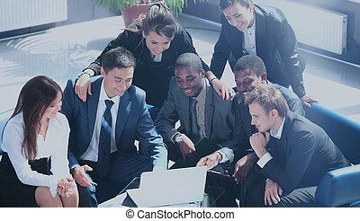 boldog, dolgozó, ügy sportcsapat, alatt, modern, hivatal