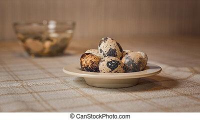 boldog, easter., easter ikra, és, húsvét, dekoráció, asztalon