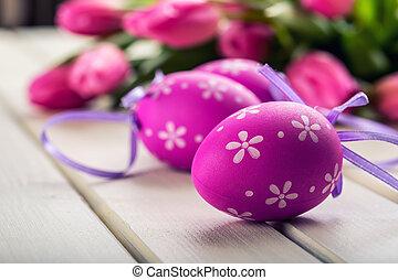 boldog, easter., többszínű, eredet, tulipánok, és, húsvét, eggs., eredet, és, húsvét, decorations.