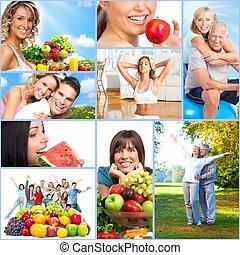 boldog, egészséges, emberek, collage.