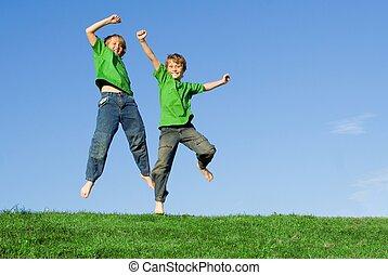 boldog, egészséges, gyerekek, ugrál, nyár