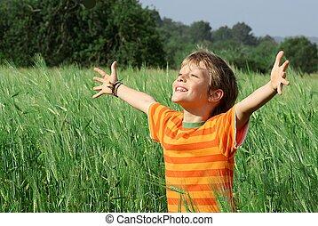 boldog, egészséges, nyár, gyermek