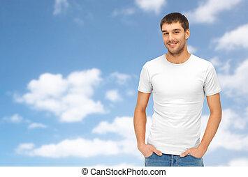 boldog, ember, alatt, tiszta, white trikó