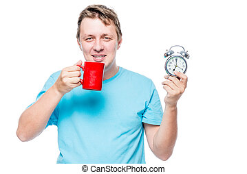 boldog, ember, noha, egy, ébresztőóra, és, kávécserje, alatt, a, kora reggel, képben látható, egy, white háttér