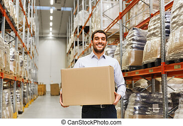 boldog, ember, noha, kartonpapír, csomag, doboz, -ban, raktárépület