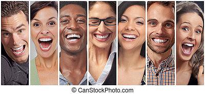 boldog, emberek arc, állhatatos