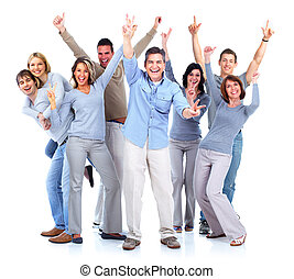 boldog, emberek, csoport