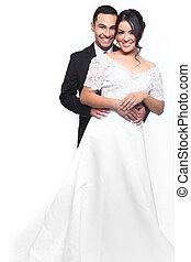 boldog, esküvő párosít, szerelemben