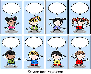 boldog, etnikai, kevert, gyerekek