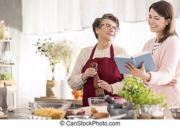 boldog, főzés, nagyanyó