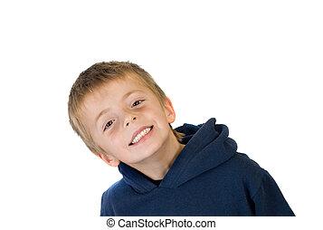 boldog, fiú, kiállítás, egészséges fogazat