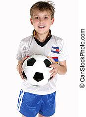 boldog, fiú, noha, egy, focilabda